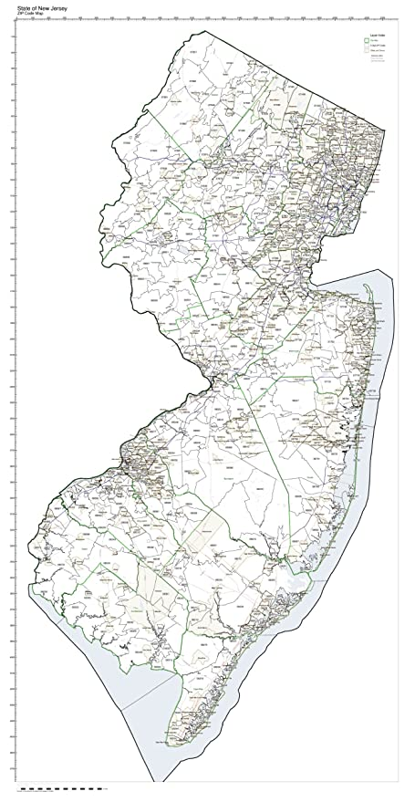 Zip Code New Jersey Map.Amazon Com Zip Code Map State Of New Jersey Laminated Home Kitchen
