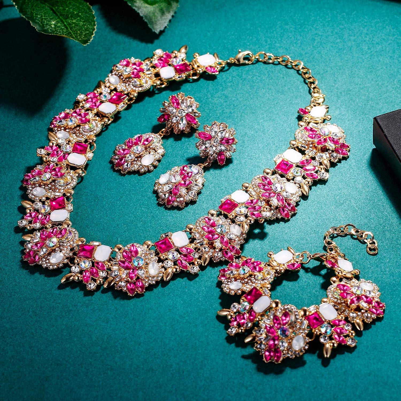 EVER FAITH Gioielli Donna, Cristallo Vintage Floreale Girocollo Chunky Choker Jewellery Set di Gioielli Rosa Antico Oro--fondo