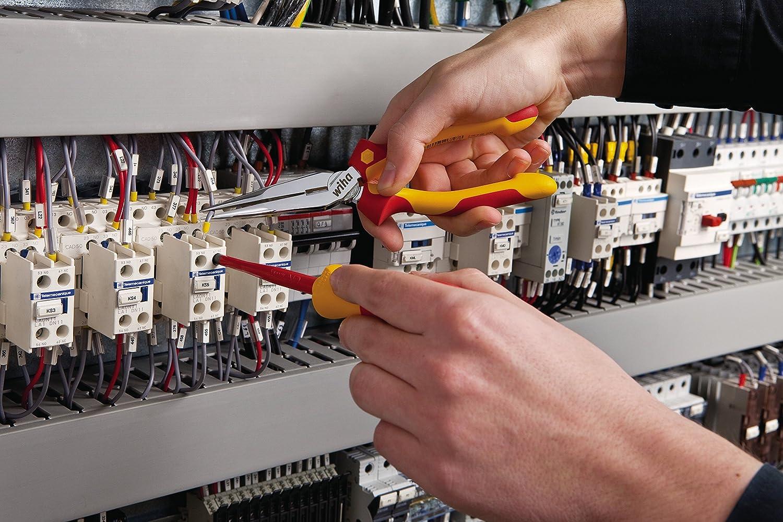 st/ückgepr/üft stabil und robust Wiha Flachrundzange Professional electric mit Schneide gerade Form 160 mm Zange f/ür Elektriker VDE gepr/üft 26720