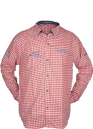 Traditional Wear Oktoberfest Camisa, Cuadros para Hombre Rojo ...