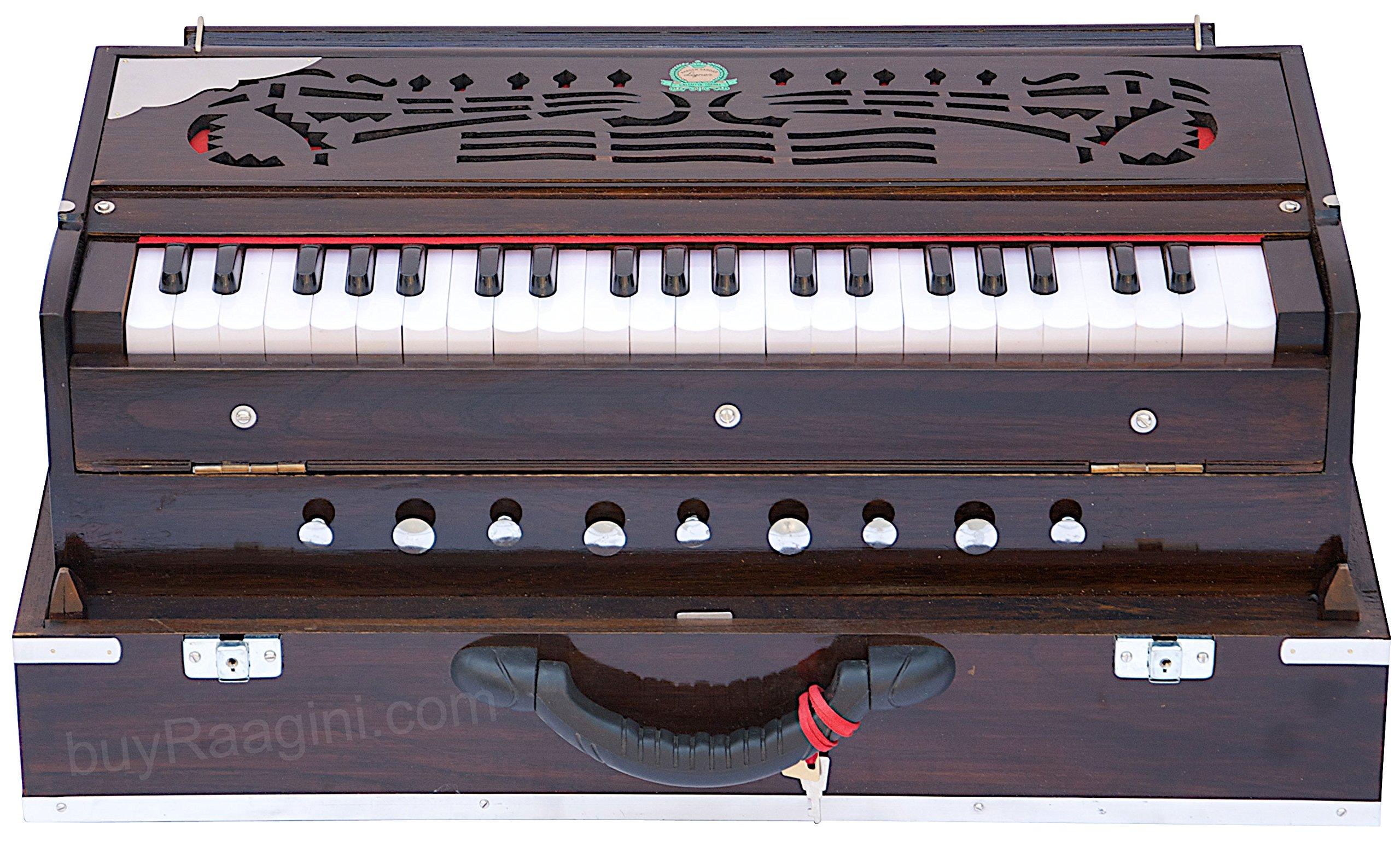 Harmonium Instrument, Monoj K Sardar MKS, Concert Quality, Folding, Three Reed B-M-F, Dark Mahogany Color, 9 Stop, 3 1/2 Octaves, Padded Bag, Book, Indian Musical Instrument (PDI-FEB) by Monoj Kr Sardar for buyRaagini.com