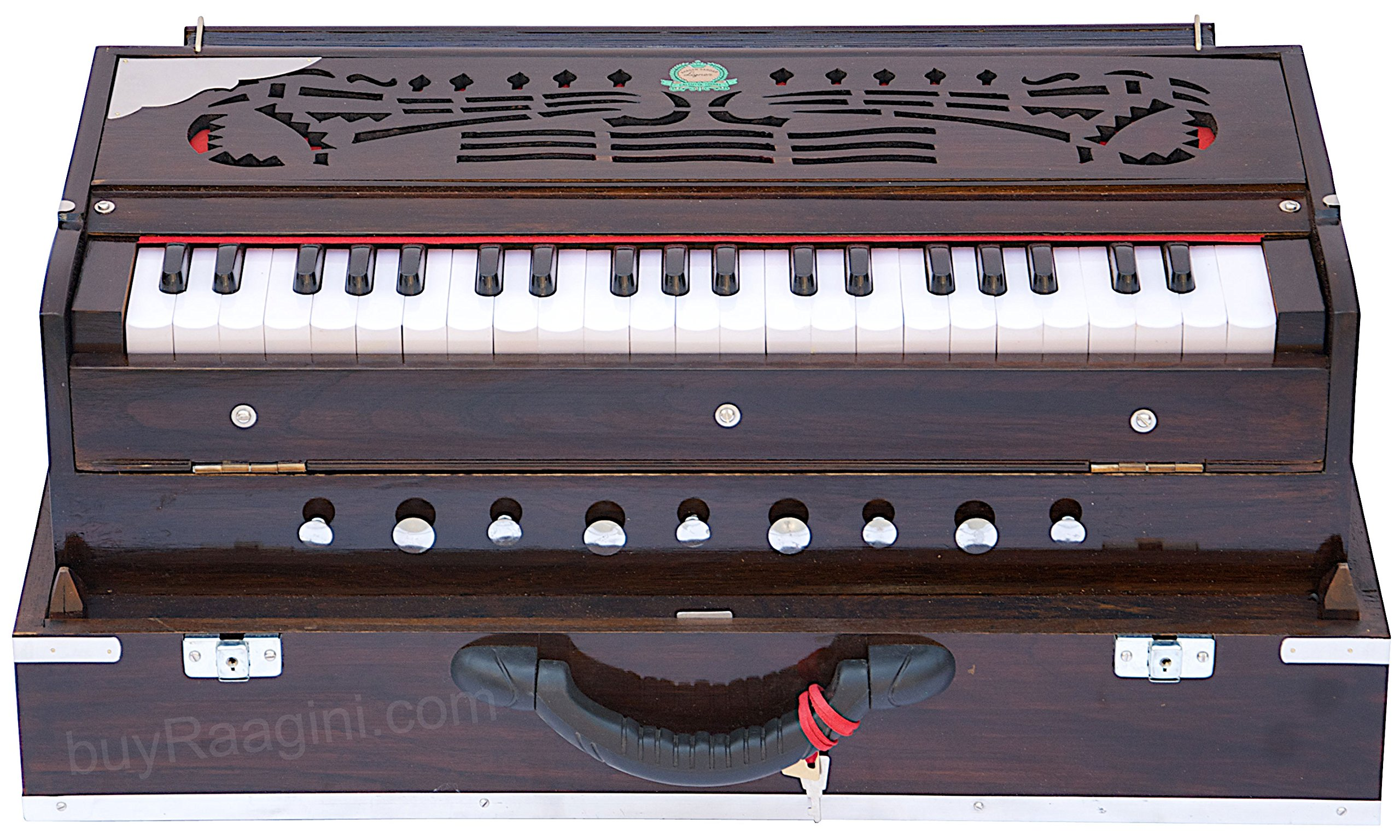 Harmonium Instrument, Monoj K Sardar MKS, In USA, Concert Quality, Folding, Double Reed, Dark Mahogany Color, 9 Stop, 3 1/2 Octaves, Padded Bag, Book, Indian Musical Instrument (PDI-BDC)