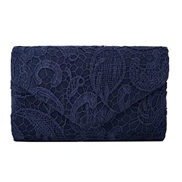 203b38688 Mujer Satén Encaje Bolsas De Flores De Boda Bolso Nupcial De Partido Fiesta  Noche Embrague Carteras,Azul Oscuro: Amazon.es: Equipaje