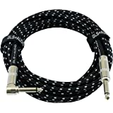 GLS Audio 20 Foot Guitar Instrument Cable - Right Angle 1/4-Inch TS to Straight 1/4-Inch TS 20 FT Black Gray Tweed Cloth Jack
