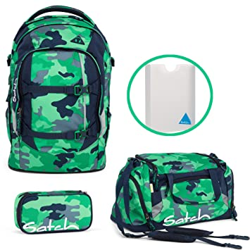 4b9ec23c739d9 Satch by Ergobag Pack Green Camouflage School Backpack + Gym bag + Pencil  Case with Ruler and Styler BOX FILE FOLDER SET OF 4  Amazon.co.uk  Luggage