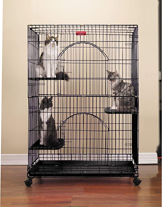 Proselect Foldable Cat Cages 48 High Black Pet Supplies