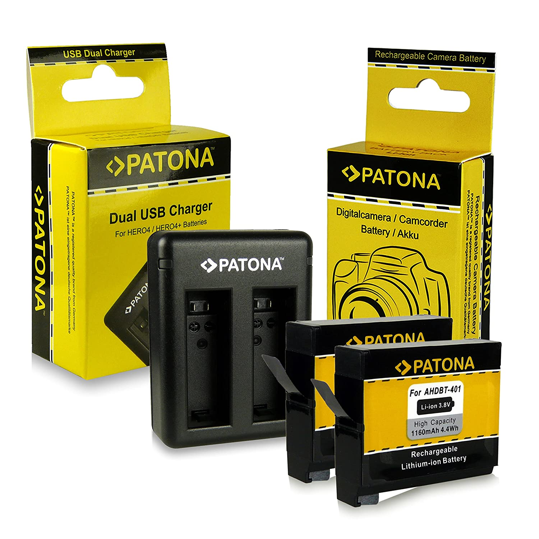PATONA Kit Cargador de Batería doble y 2x Batería AHDBT-401 Para GoPro HD Hero4