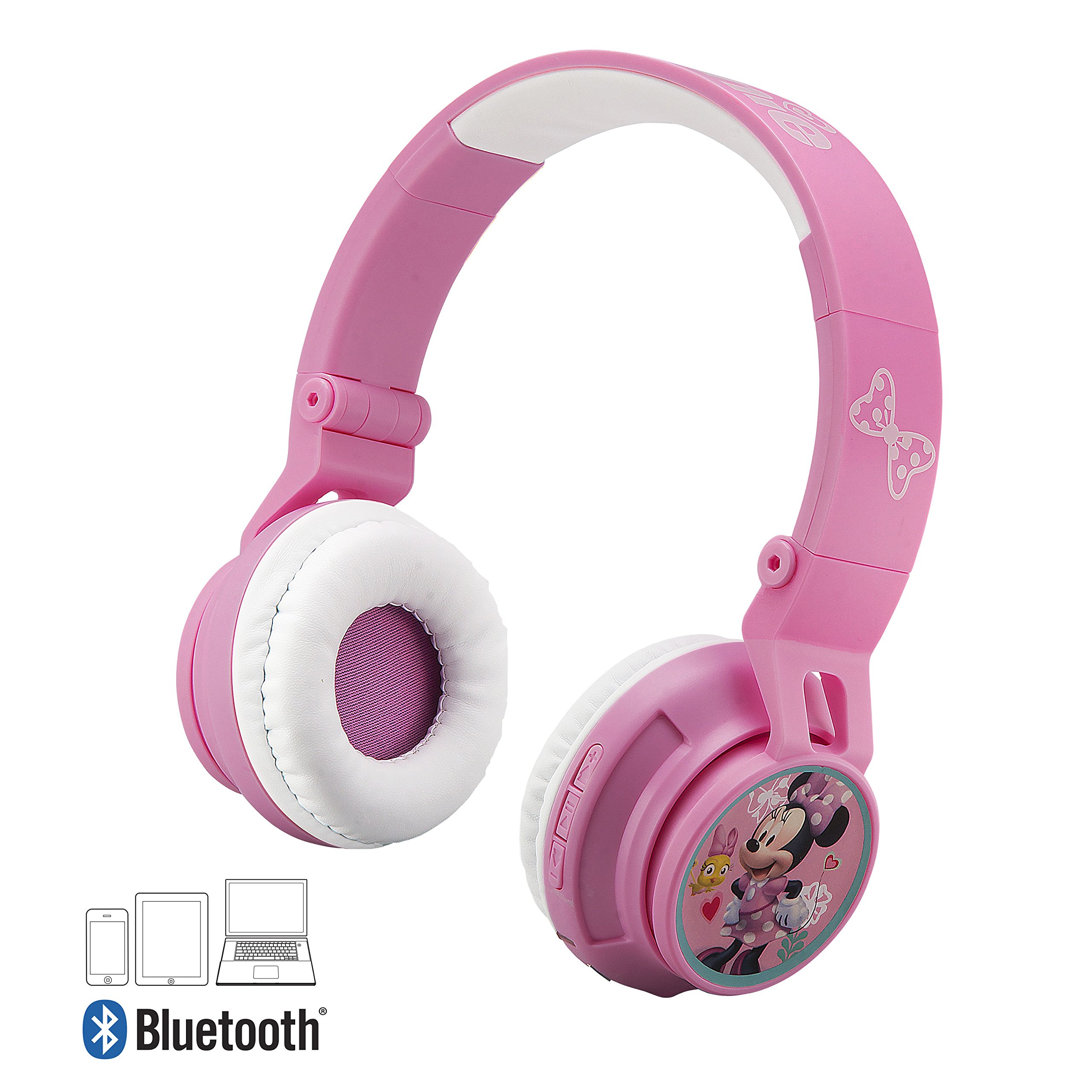 Minnie Mouse Bluetooth Headphones for Kids Wireless Rechargeable Kid Friendly Sound (Minnie Mouse)