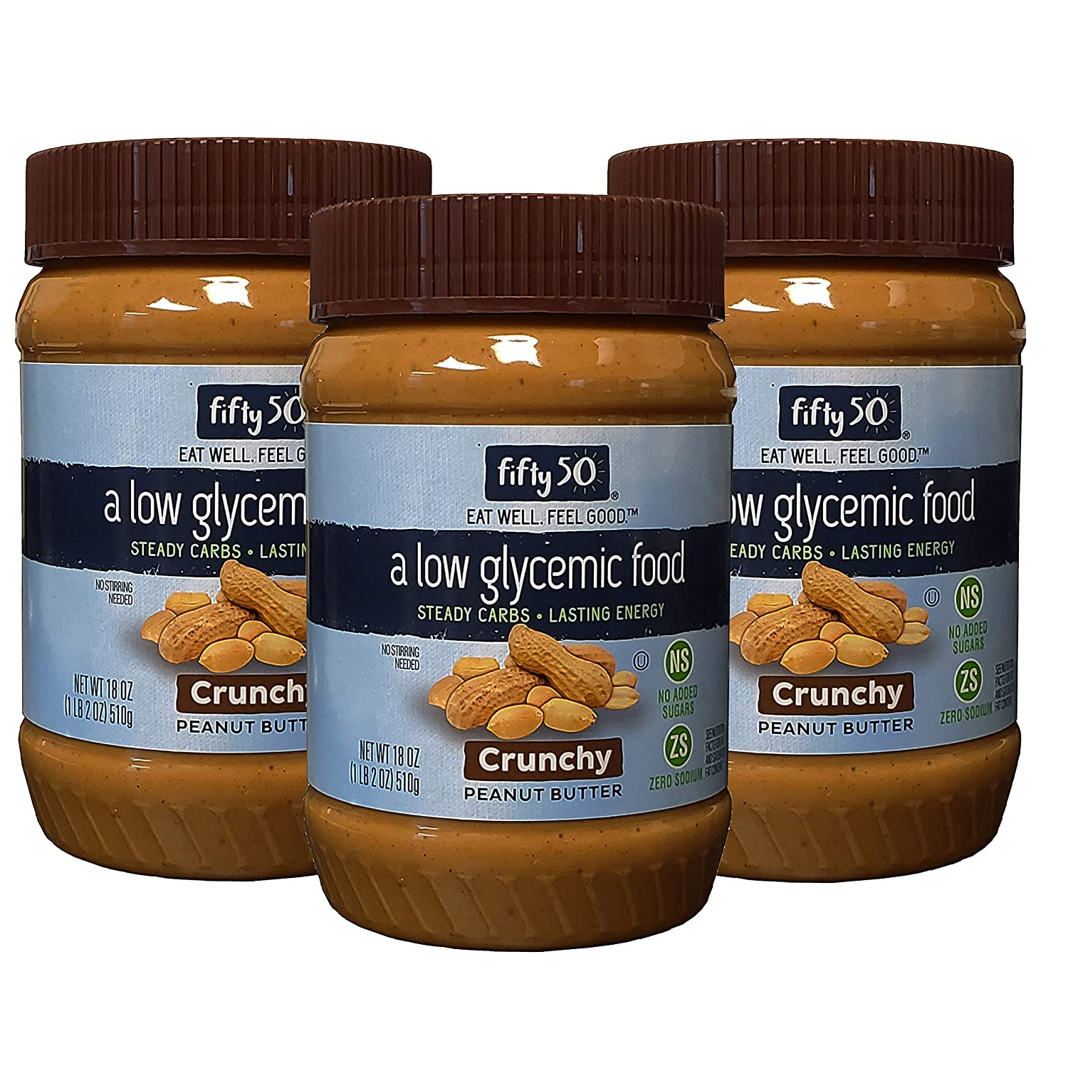 Fifty50 Foods Low Glycemic, No Added Sugar, Crunchy Peanut Butter, 18 Ounce (Pack of 3)