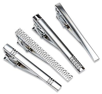 2e511fe9c4a9 Amazon.com: Velette Tie Clips for Men, Classic Tie Pins Set of 4 (Silver):  Jewelry