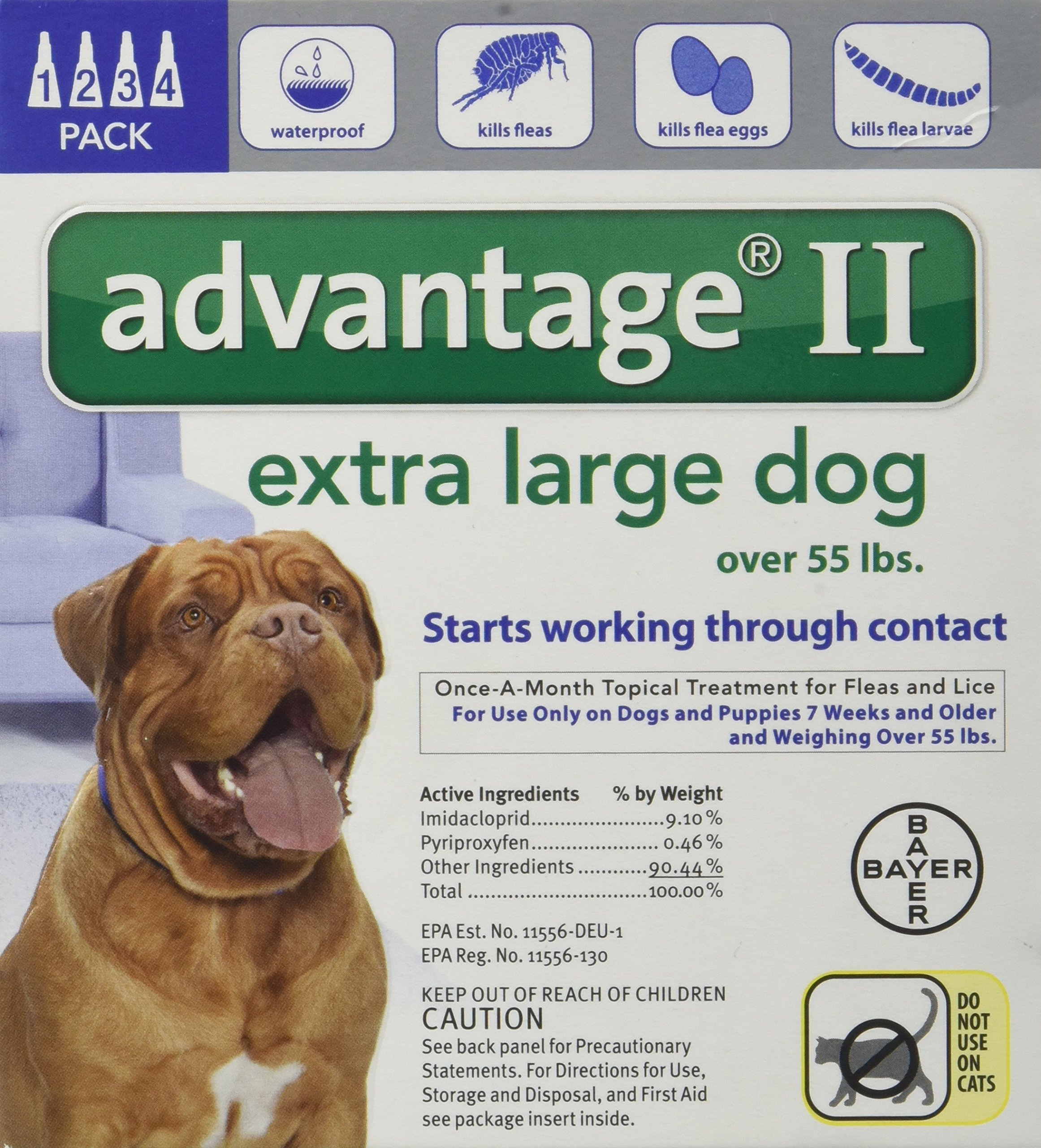Bayer Advantage II Topical Flea Treatment for Dogs over 55 Lbs (4 Applications) by Bayer