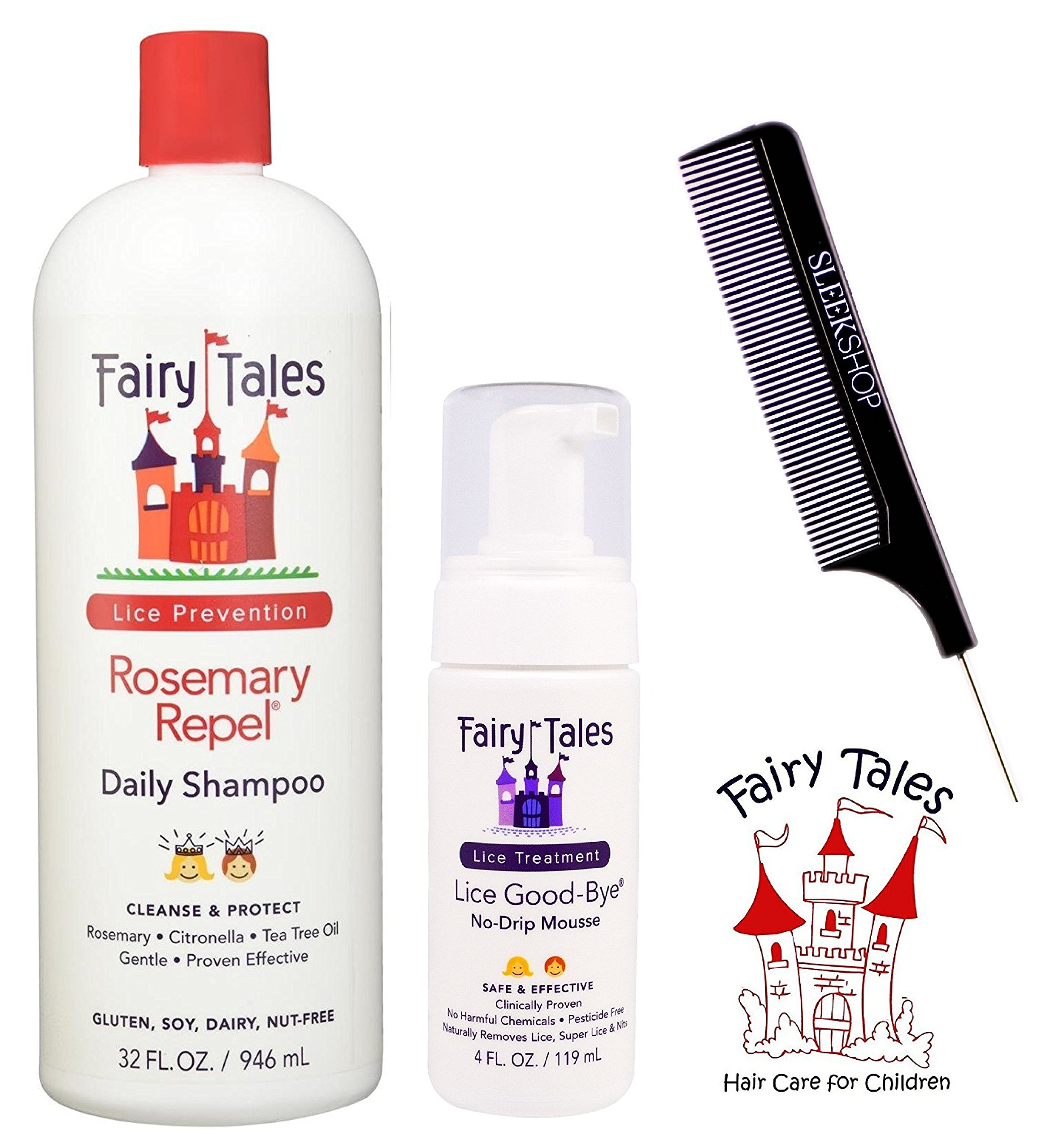 Fairy Tales ROSEMARY REPEL Daily Shampoo & LICE GOOD-BYE No-Drip (with Sleek Steel Pin Tail Comb) (32 oz + 4 oz - large liter DUO kit by Fairy Tales