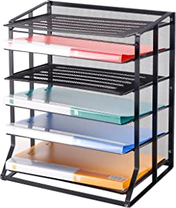 6 Tier Black Metal Wire Mesh Vertical Trays Document File Holder/Office Desktop Sorter Rack