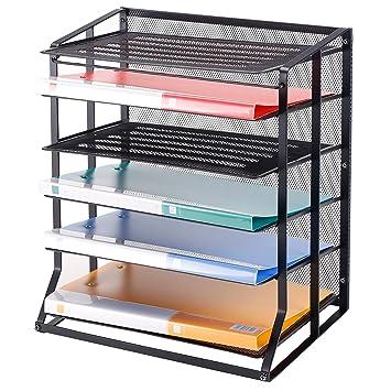 Bandejas verticales para archivar documentos de 6 niveles, metal negro, forma de malla de alambre, organizador de escritorio para: Amazon.es: Juguetes y ...