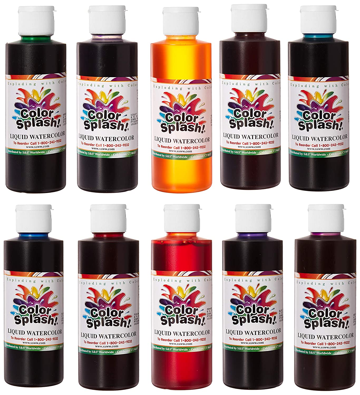 44bd5f97e53b Amazon.com  S S Worldwide Color Splash! Liquid Watercolor 8oz. (Set of 10)   Toys   Games