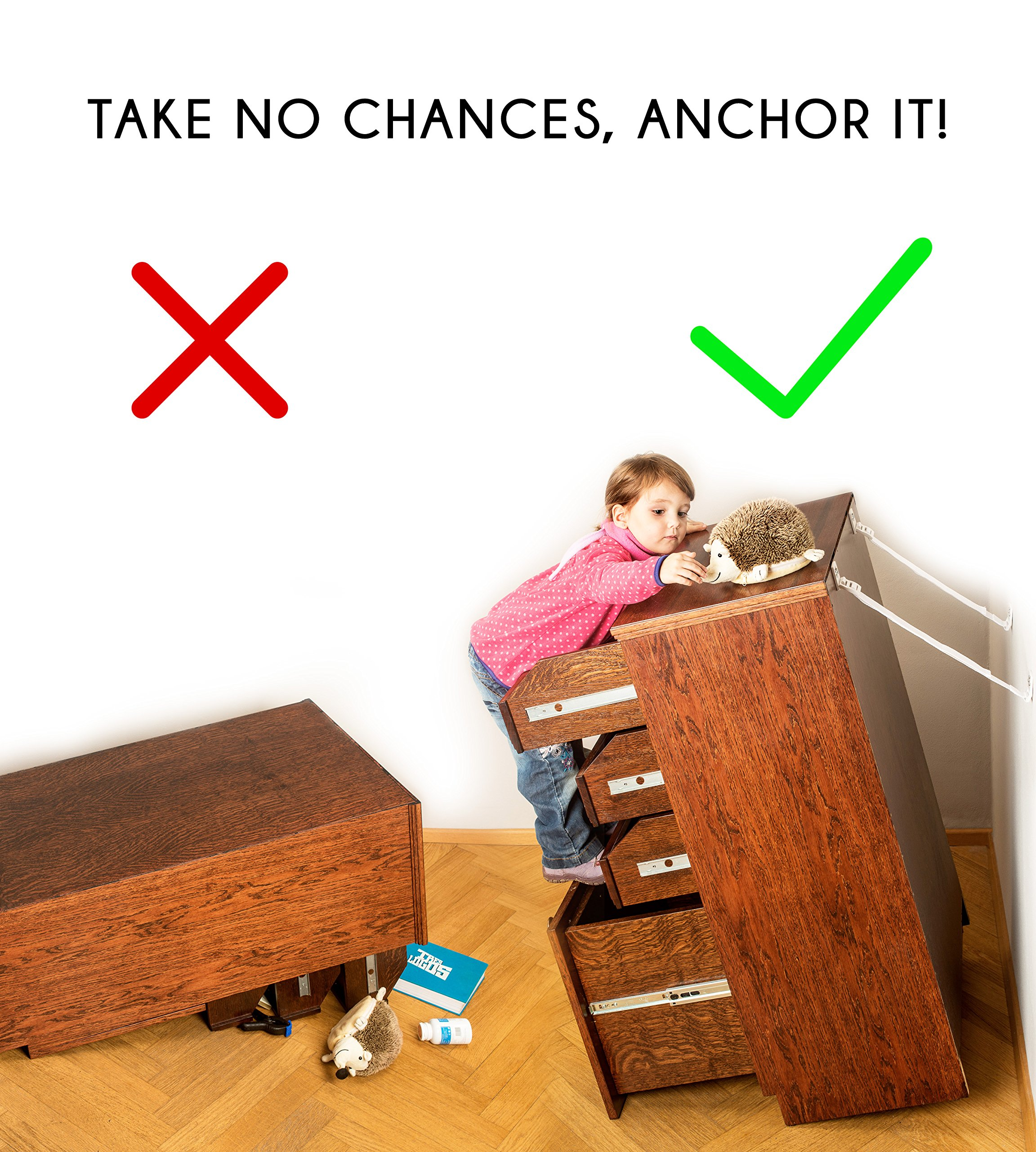 Boxiki Kids Adjustable Anti-Tip Furniture Anchors for Baby Proofing and Dresser Anchoring Kit. 8 PC Wall Anchors and Earthquake Straps. Baby Safety Kit and Home Safety Furniture Straps. (White) by Boxiki Kids (Image #4)