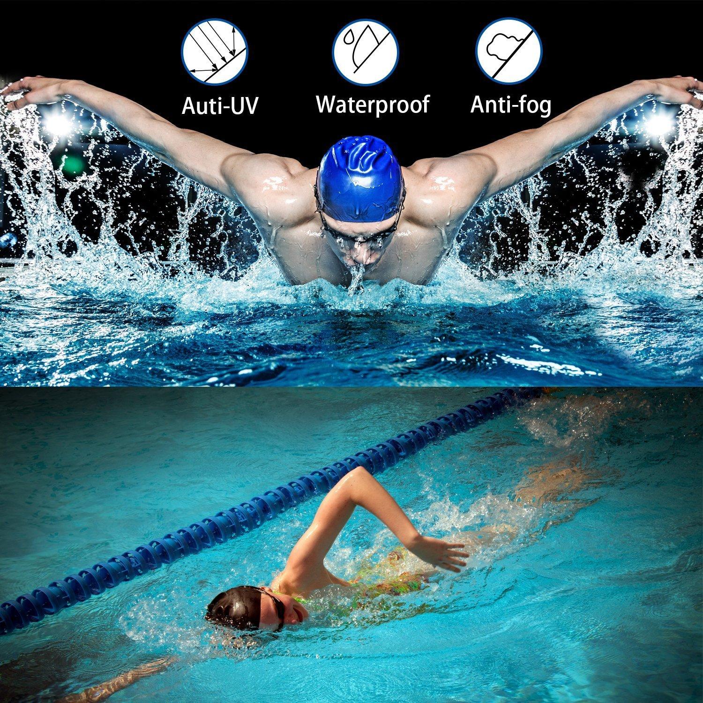 Anti Fog UV Protection Waterproof Swimming Goggle with Case and Silicone Swim Cap Elite O/&S Swim Goggle Blue