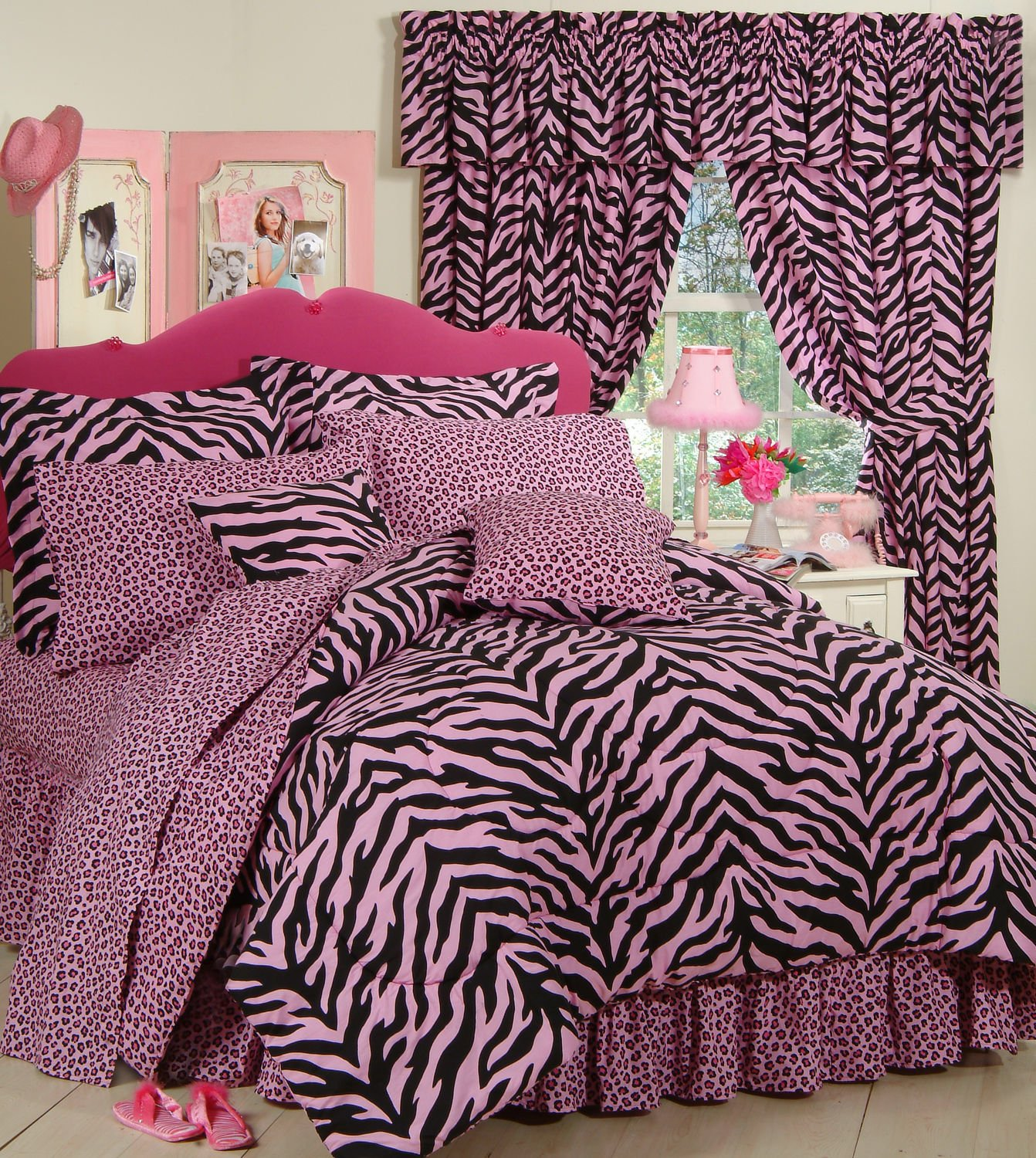 Pink Zebra 6 Pc EXTRA LONG TWIN Comforter Set