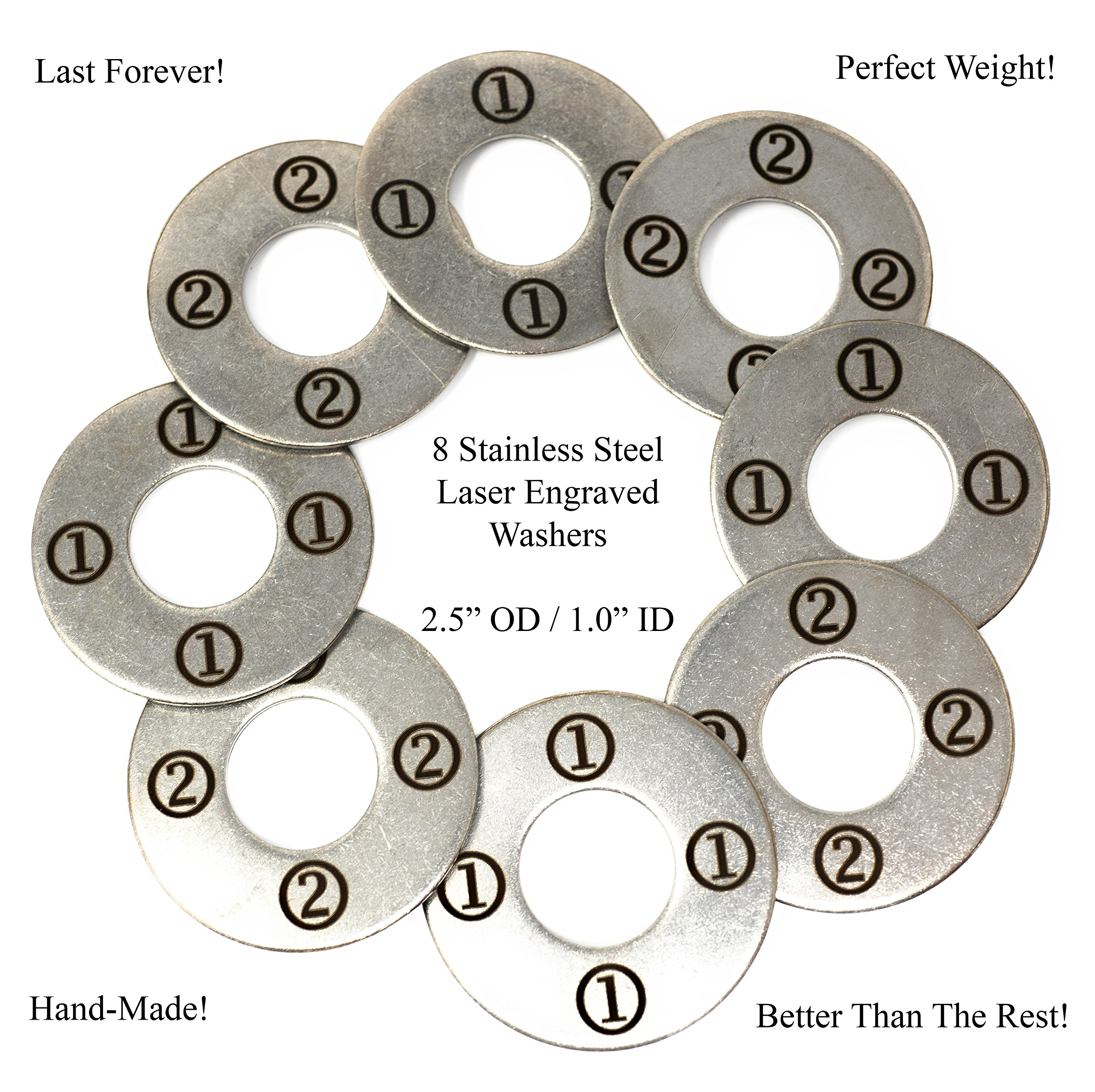 Laser Engraved Stainless Steel Replacement 2-1/2'' Washer Toss Pitching Game Washers (Set of 8) by AirstreamIT