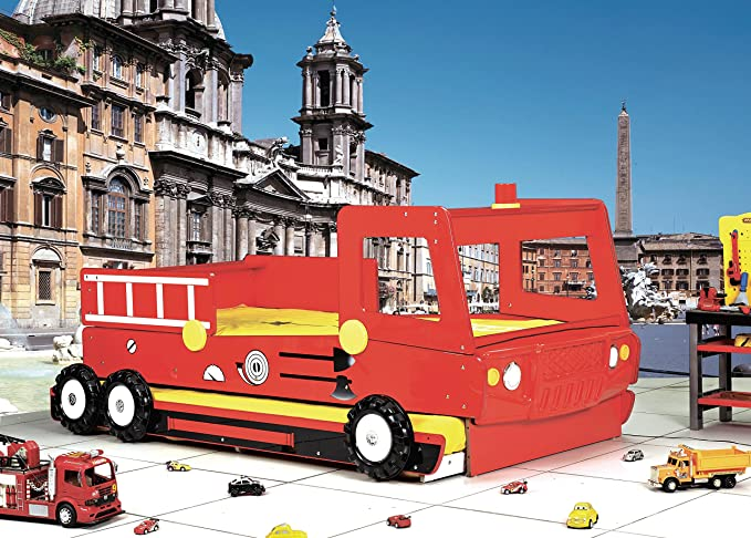 Feuerwehrbett Doppelbett Etagenbett : Feuerwehrbett rot autobett kinderbett doppelbett spielbett inkl