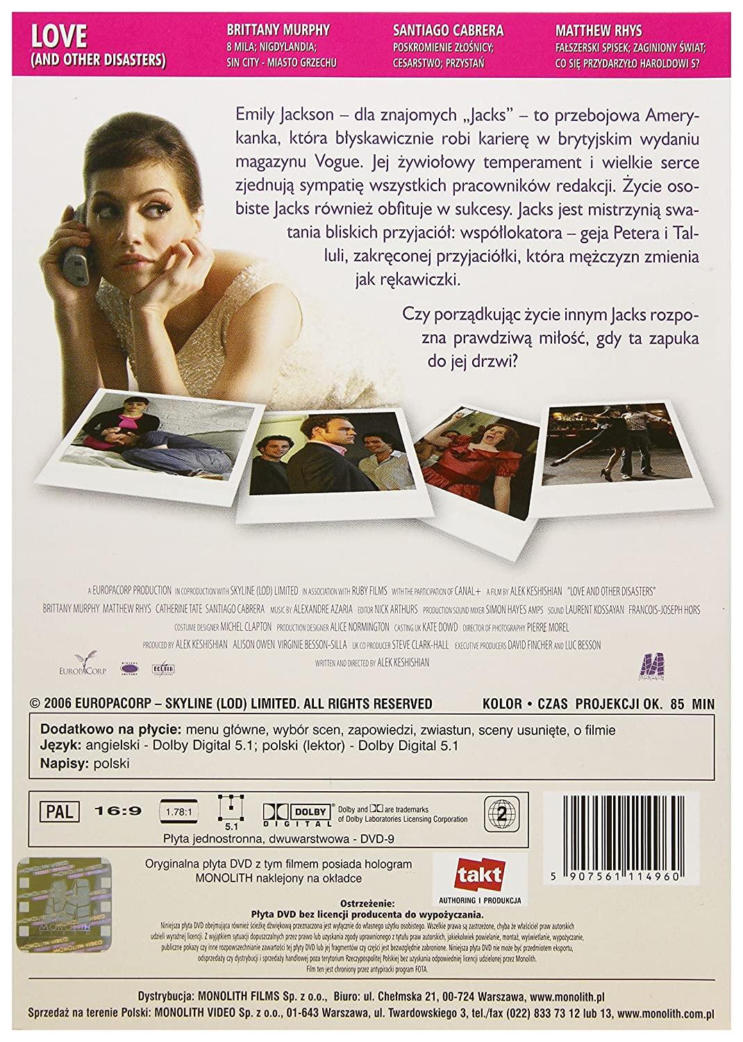 Amazon.com: Love and Other Disasters [DVD] (English audio): Brittany Murphy, Matthew Rhys, Santiago Cabrera, Samantha Bloom, Catherine Tate, ...