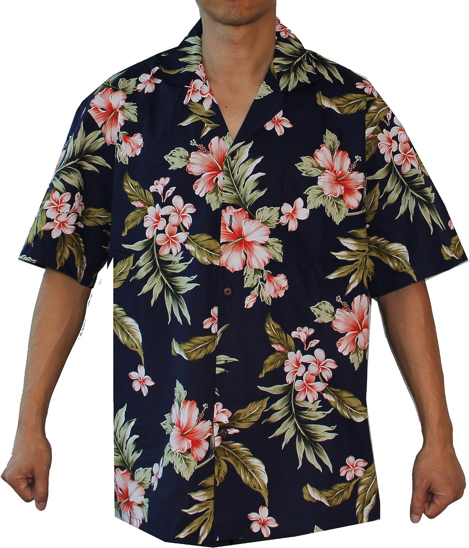 Make in Hawaii Mens Hibiscus Floral Cruise Luau Hawaiian Aloha Shirt