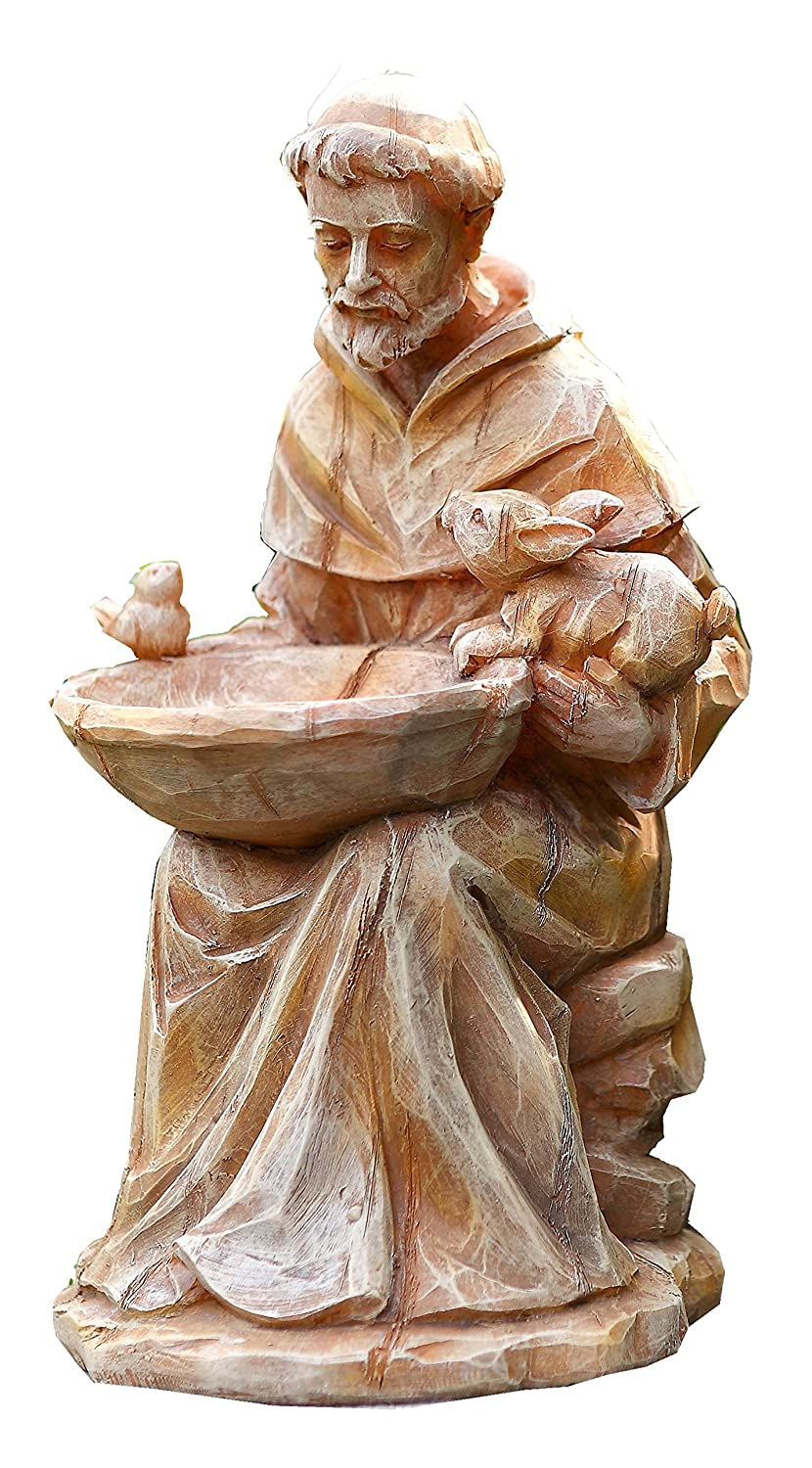 Napco 18062 Sitting St. Francis with Animals and Bird Feeder Garden Statue, 11.5""
