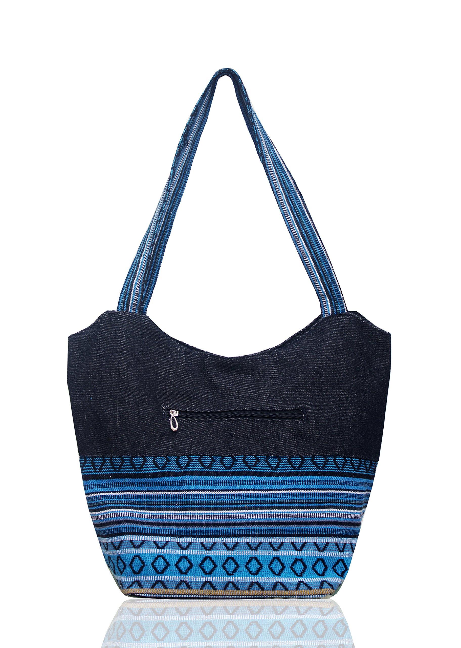 Handmade Tote travel work shopper large capacity shoulder top handle bags for women girl (Summer Sky Blue)