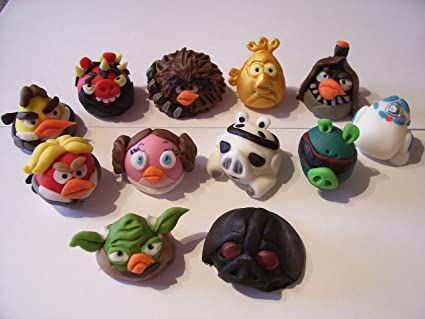 Edible Cake Decorations 3 D Star Wars Angry Birds Set Of 12