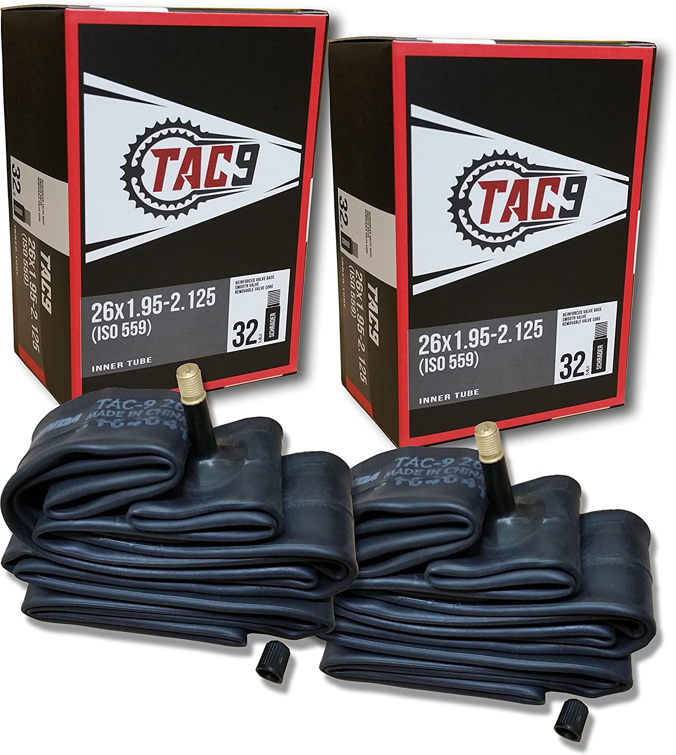 TAC 9 Tube, 26 x 1.95-2.125, Regular Schrader Valve 32mm - Bundle Options Available w/Rim Strips and Tire Levers