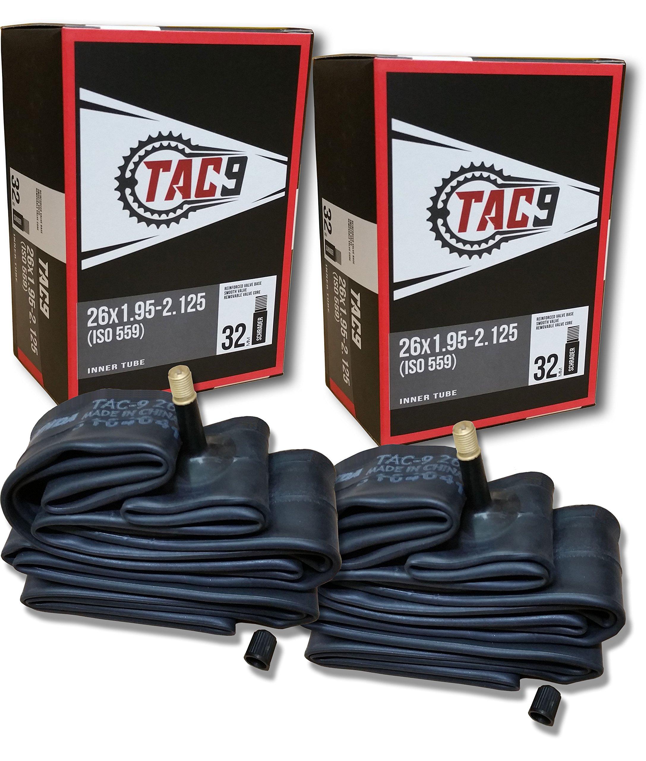 TAC 9 2 Pack Bike Tubes, 26 x 1.95-2.125'' Regular Valve 32mm - 2 Tubes ONLY Bundle by TAC 9