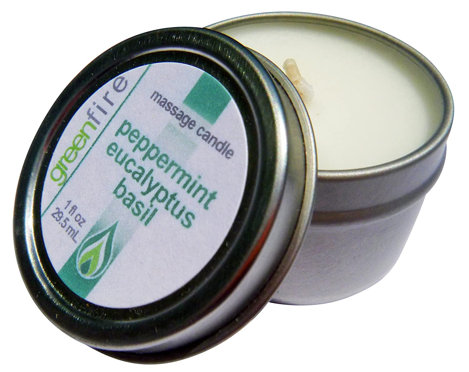Peppermint Eucalyptus Basil Lavender Sandalwood Vanilla Size: 1 fl. ounce each Greenfire 3pk All Natural Massage Oil Candles Greenfire Products 1OZPK31 Orange Carrot Coconut