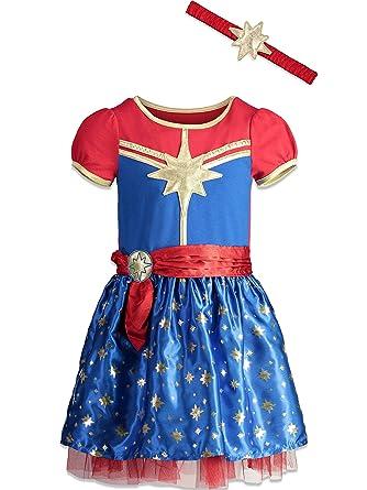Marvel Capitán niñas Manga Corta Disfraz Vestido y Diadema ...