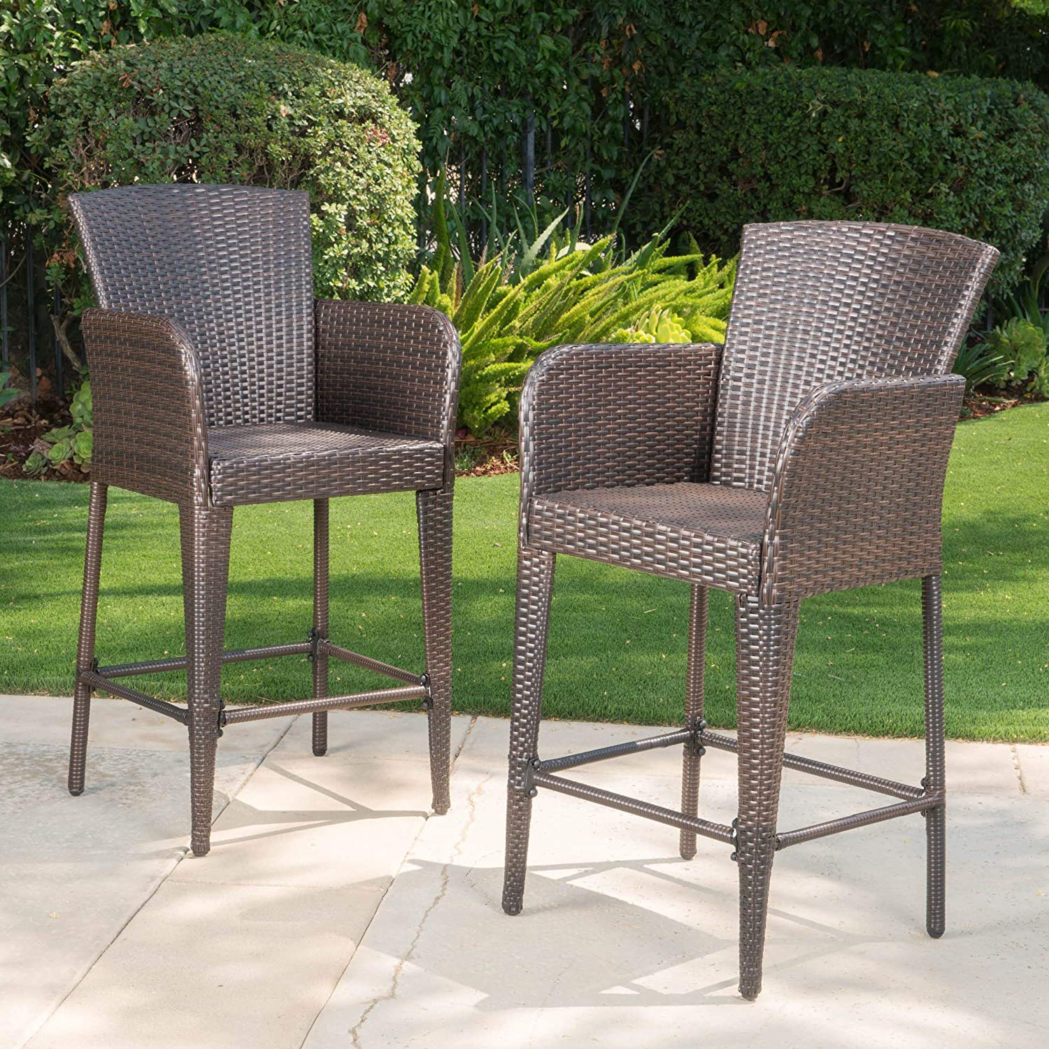 Christopher Knight Home 298899 Seawall Patio Furniture Outdoor Wicker Bar Stool Set of 2 Brown