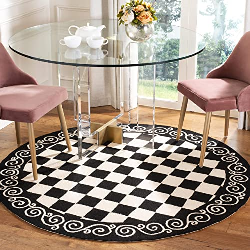 Safavieh Chelsea Collection HK711A Hand-Hooked Black and Ivory Premium Wool Round Area Rug 3 Diameter