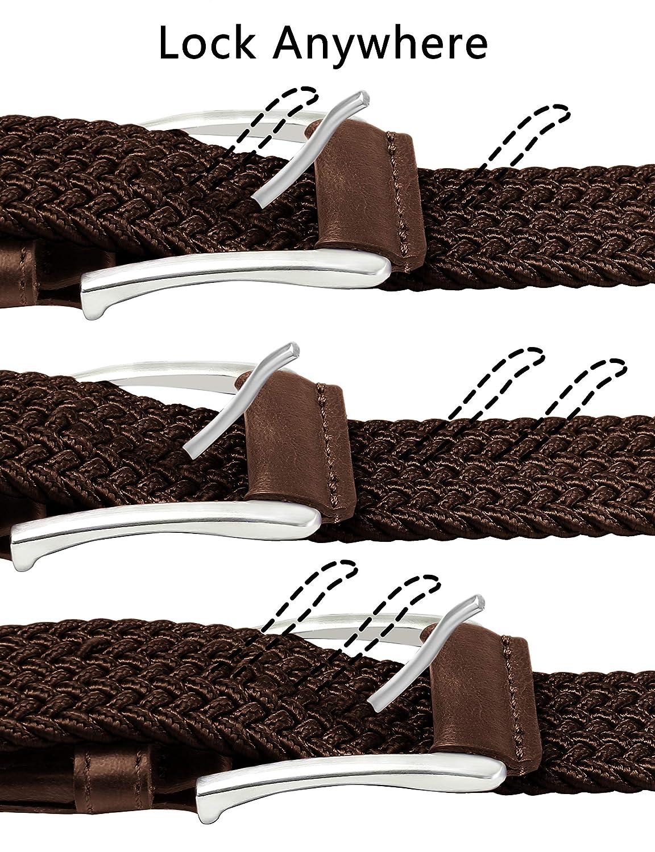 Stretch Belt Men,Bulliant Mens Woven Stretch Braided Belt 1 3//8,Multicolors