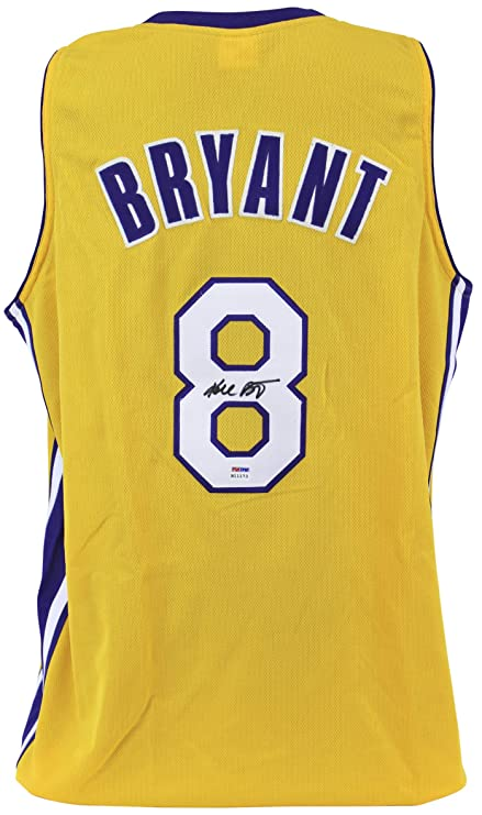 4b5648967598 Amazon.com  Lakers Kobe Bryant Authentic Signed Yellow Jersey Rookie  Signature PSA  B11173  Sports Collectibles