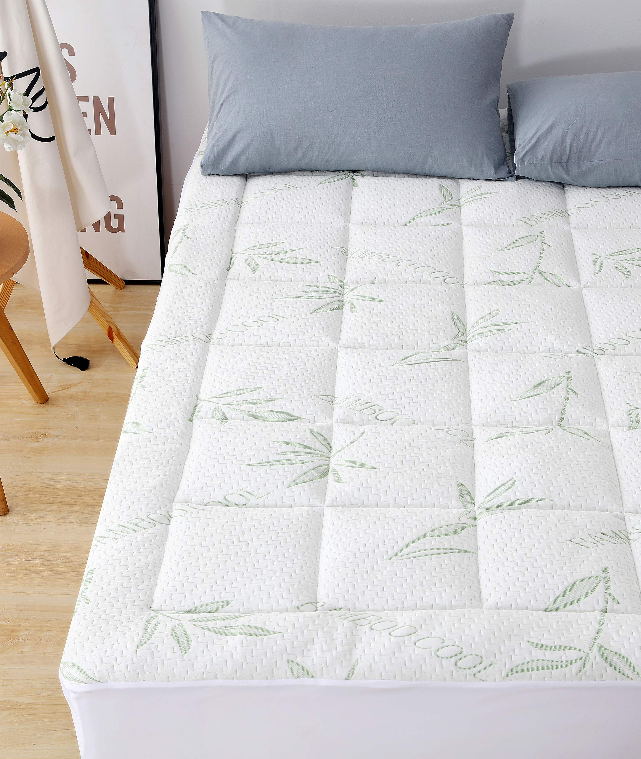 Elegant Comfort Premium Bamboo Mattress Pad-Overfilled Extra Plush Topper Hypoallergenic Breathable Cool Flow Technology, 16'' Deep Pocket, Queen, Green
