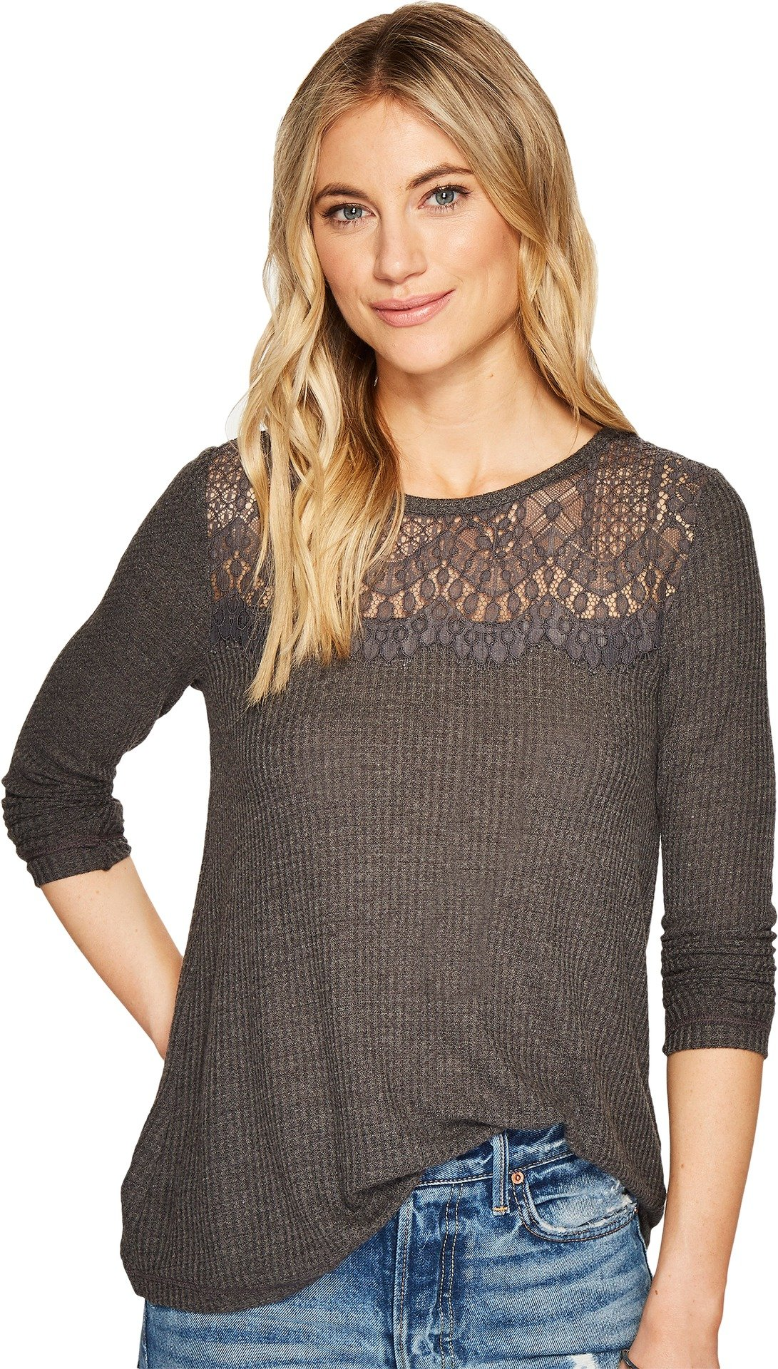 Lucky Brand Women's Lace Collar Thermal Top, Charcoal, X-Large
