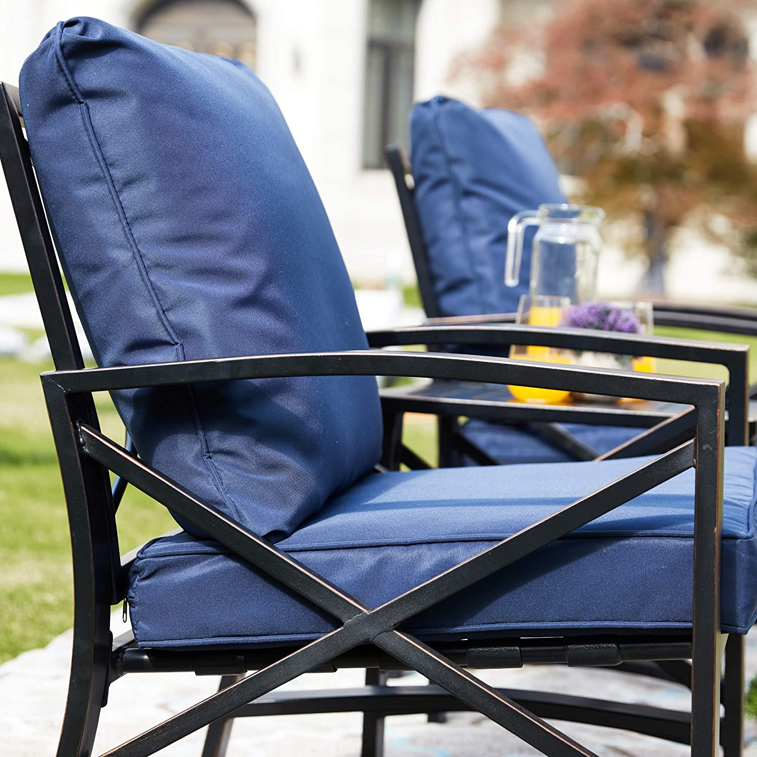 Khaki LOKATSE HOME 3 Piece Outdoor Set Chairs Cushioned Patio Chairs Set Metal Patio Bistro Furniture Set with Coffee Table