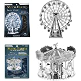 Fascinations Metal Earth Merry Go Round 3D Metal Model Kit and Fascinations Metal Earth Ferris Wheel 3D Metal Model Kit bundled by Maven Gifts