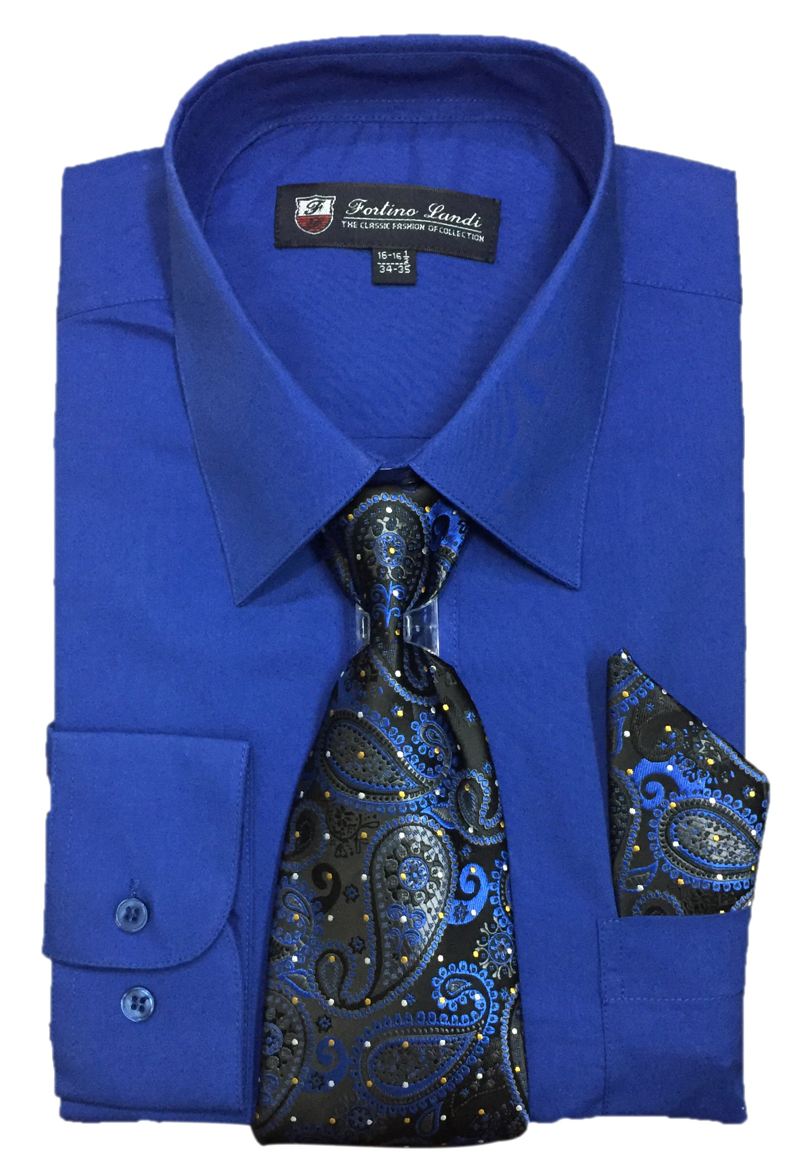 "Fortino Landi Men's Long Sleeve Dress Shirt With Matching Tie And Handkerchief (17-17.5"" Neck 34/35"" Sleeve (XLarge), Royal Blue)"