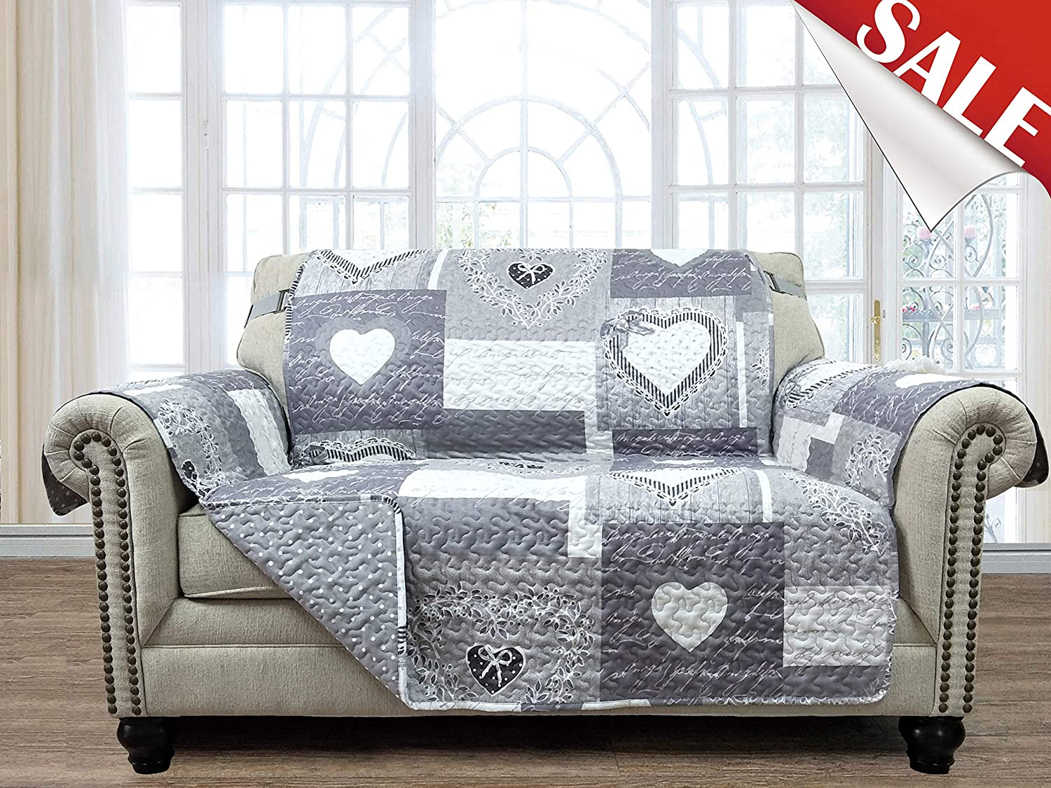 Patchwork Sofa Loveseat Protector 54 Inch Pet Proof Funiture Cover Heart Love Print Reversible Quilted Scroll Soft Layers/, Enhanced Strap, Machine Wash Arm Chair Slipcover Not Leather, Grey/White