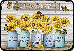 LINQWkk Sunflower It's Okay to Make Mistakes Funny Metal Novelty Sign Metal Retro Wall Decor for Home,Street,Gate,Bars,Restaurants,Cafes,Store Pubs Sign Gift 12 X 8 INCH Metal Sign