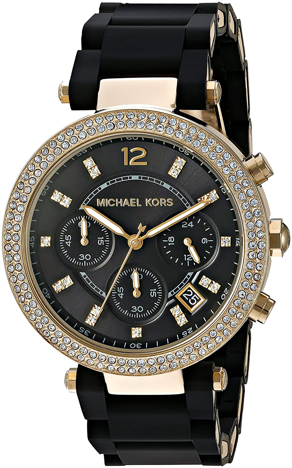 Michael Kors Women\u0027s Parker Goldtone And Black Silicone Chronograph Watch
