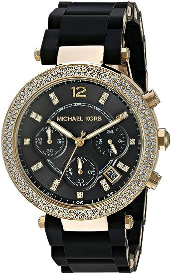 MICHAEL KORS RELOJ DE MUJER CUARZO CORREA DE SILICONA DIAL NEGRO MK6404: Michael Kors: Amazon.es: Relojes