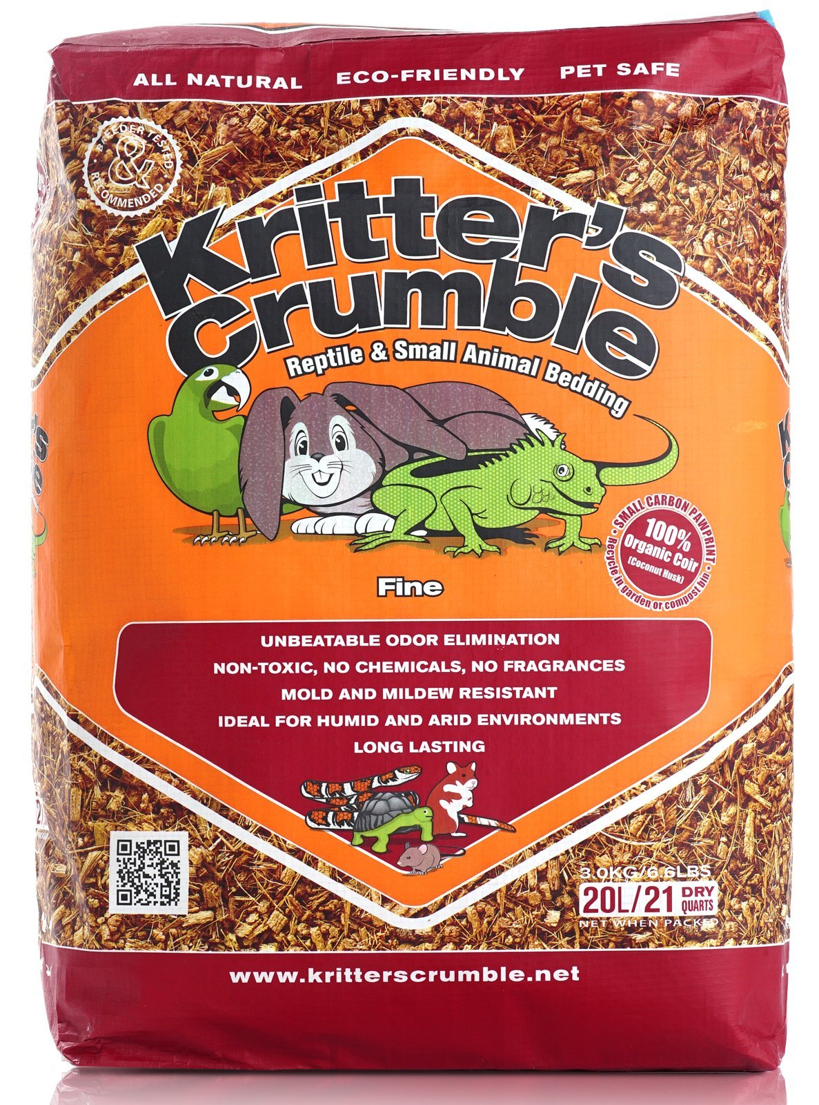 Kritter's Crumble All Natural Coconut Husk Fiber Reptile Substrate and Small Animal Bedding - Fine, 21 quarts
