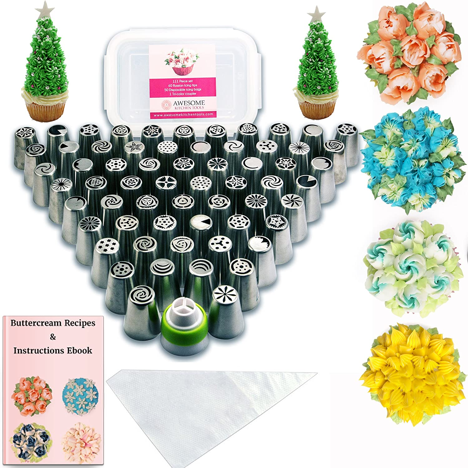 Russian Piping Tips Baking Supplies - 112 pcs - Complete set of 60 Cake Icing Frosting Nozzles + 50 Piping Bags + Coupler + Storage Box - Buttercream Flowers for Cupcake Decoration Bentrist Baking Boys DS0001