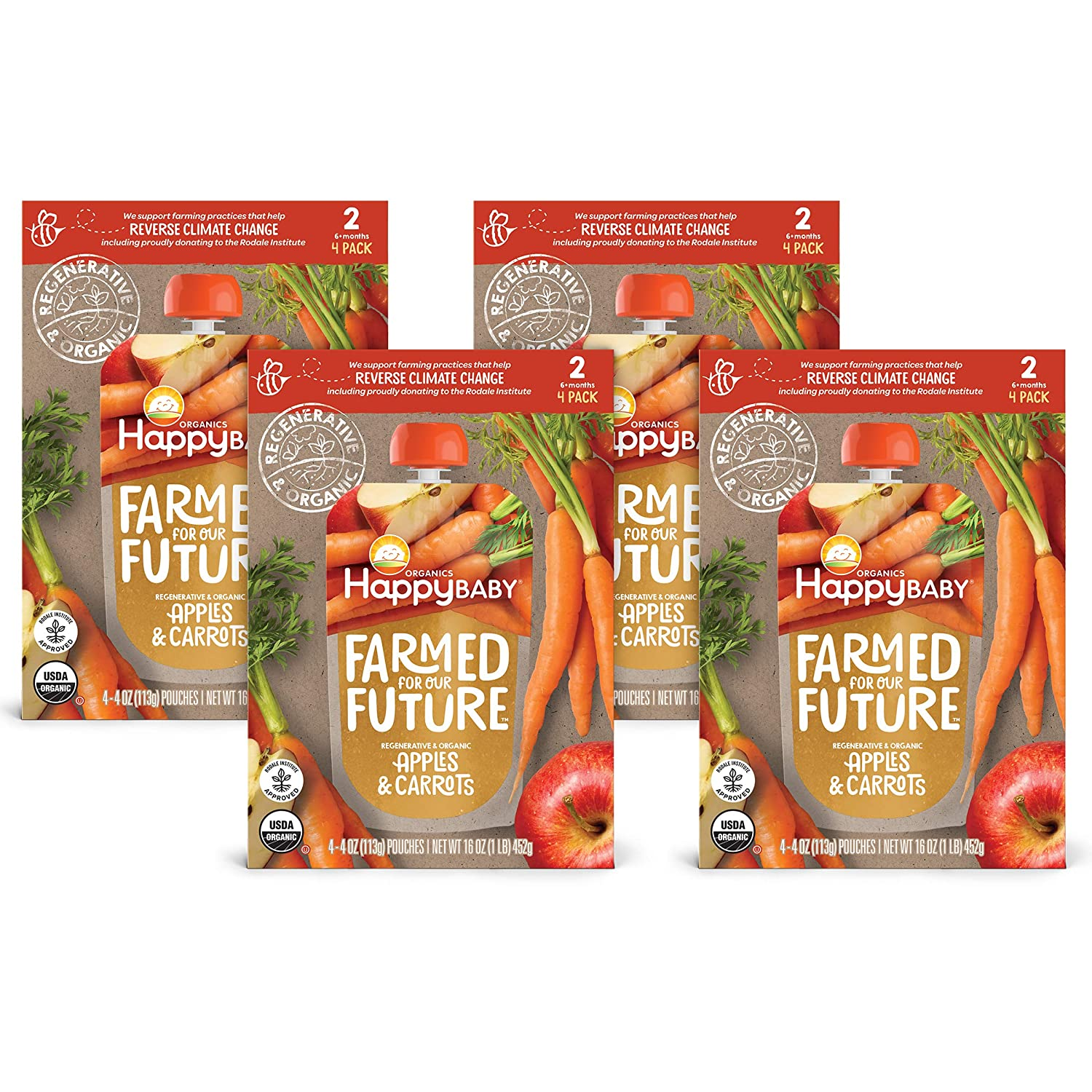 Happy Baby Organics & Regenerative Stage 2 Baby Food Pouch, Apples & Carrots, 4 Ounces, Pack of 16