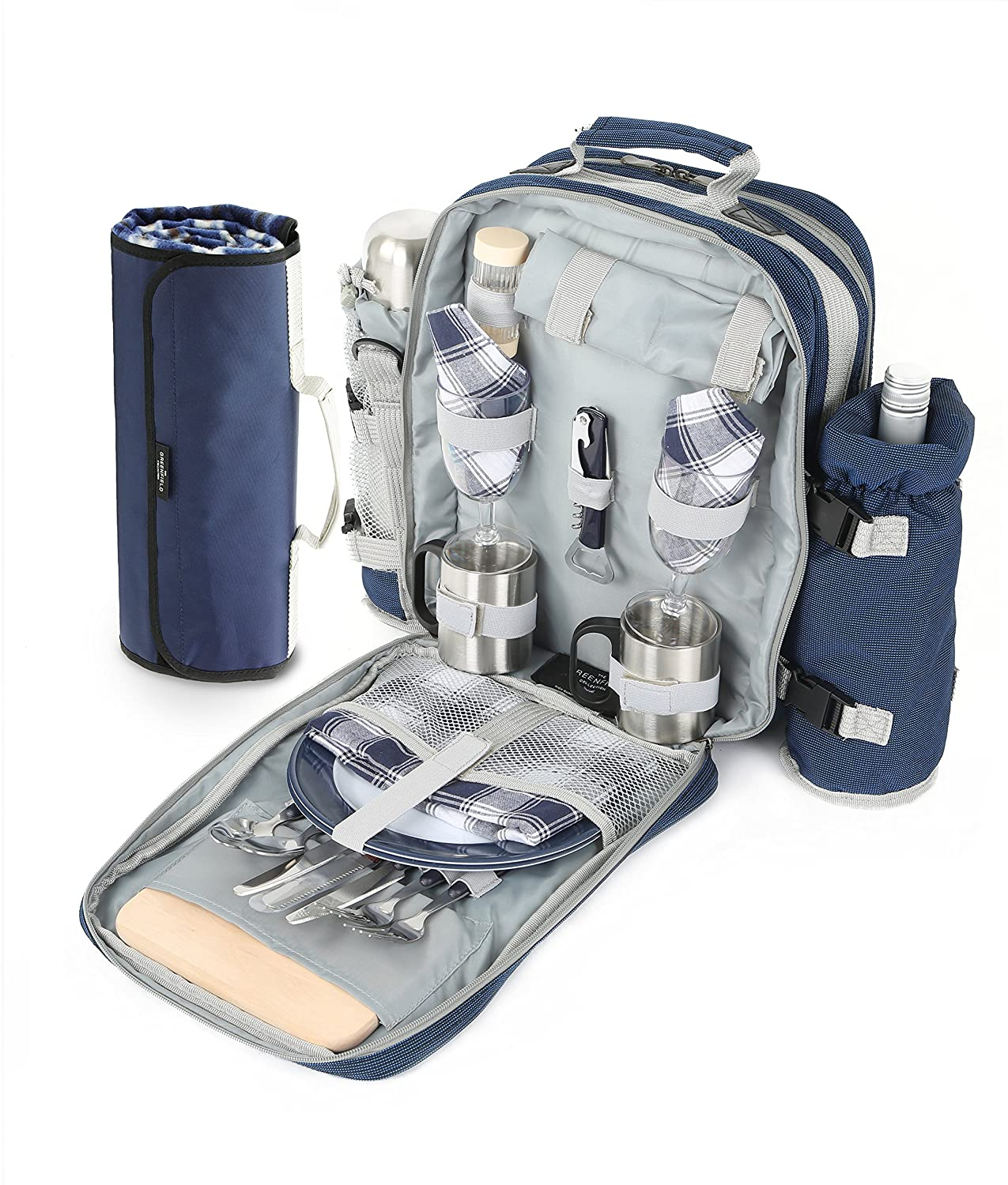 Greenfield Collection Super Deluxe Picnic Backpack Hamper for Two People in Midnight Blue with Matching Picnic Blanket BPSD2DBHPW